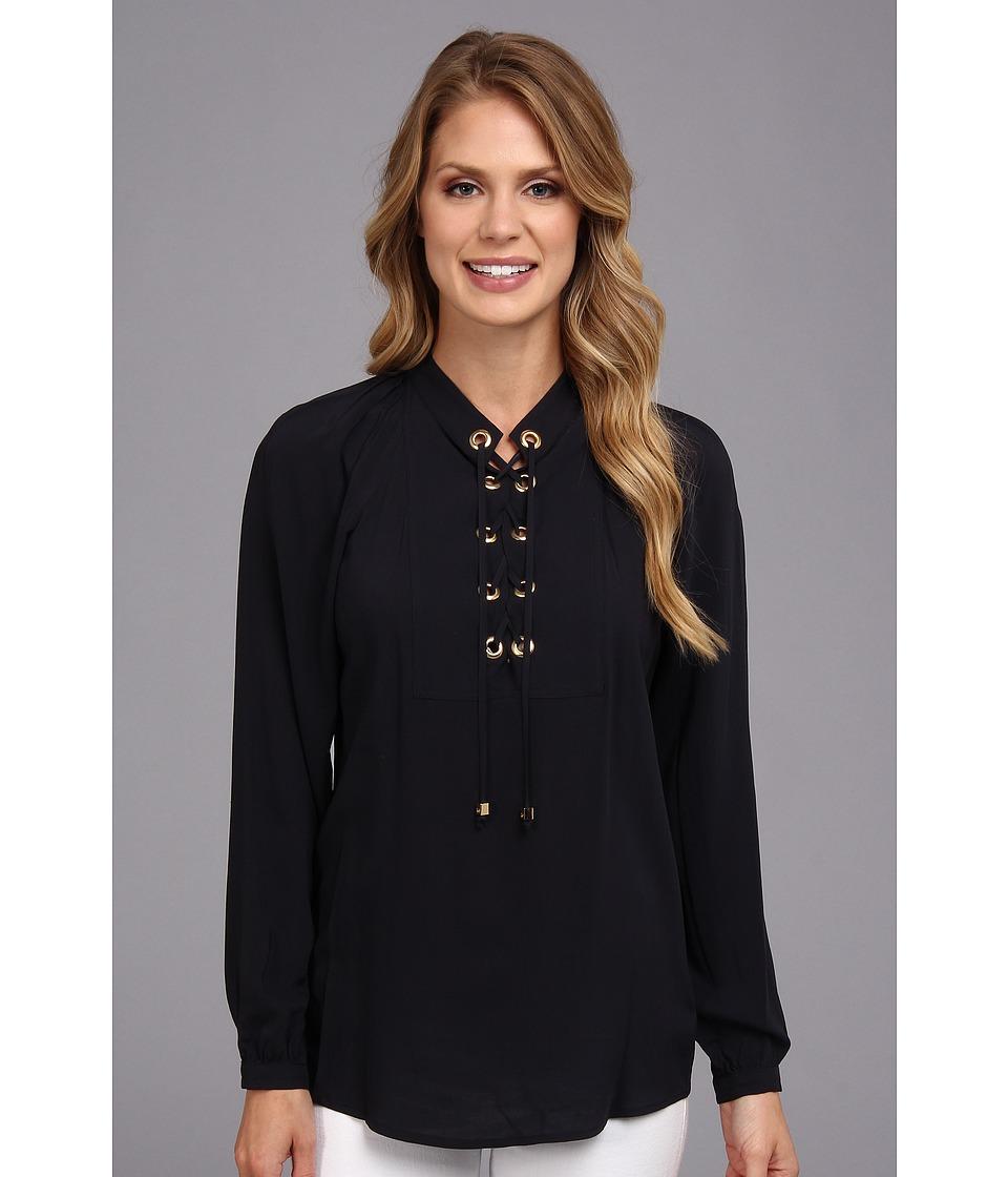 MICHAEL Michael Kors - L/S Lace Up Top (Navy) Women's Blouse