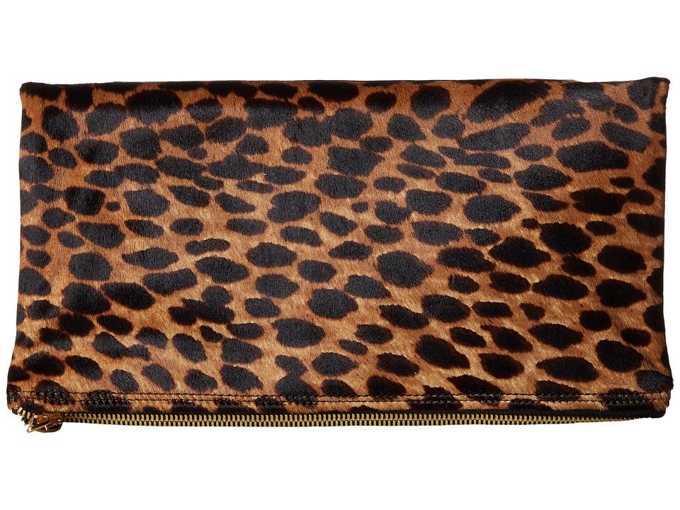 McQ - 352424R1B98 9032 Fold Clutch (White Leopard Pixel Leopard) Clutch Handbags