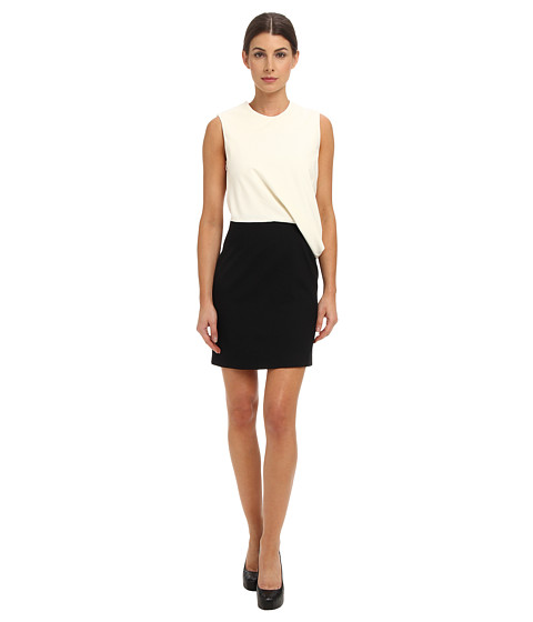 McQ - Wool Tailorin Drape Top Dress (White/Black) Women's Dress