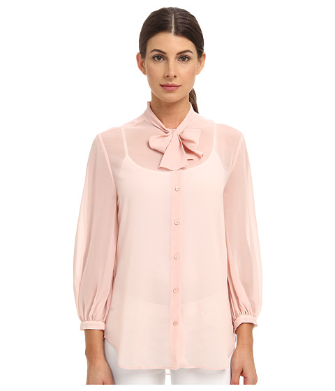 McQ - Georgette Pussy Bow Shirt (Peony) Women's Long Sleeve Button Up