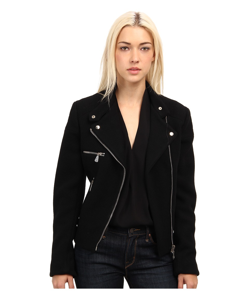 McQ - Melton Cropped Biker Jacket (Black) Women's Coat