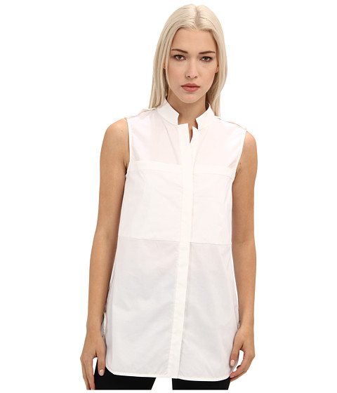 Rachel Roy - Double Layer Poplin Shirt (White) Women's Sleeveless