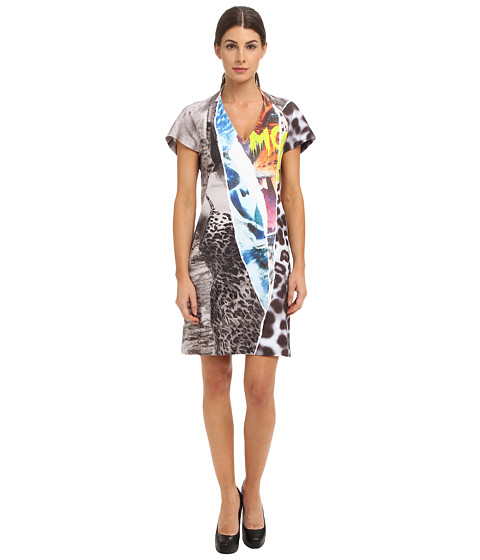 McQ - Ripped Print-I Raglan Dress (Grey Melange) Women's Dress