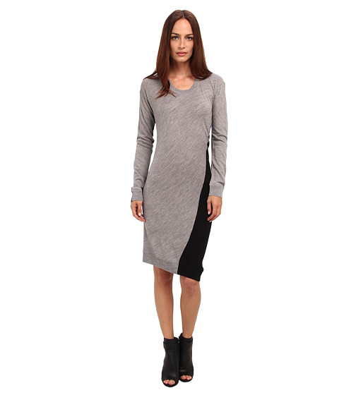 McQ - Colour Block Colourblock S Bend Crew Neck Dress (Grey/Black) Women