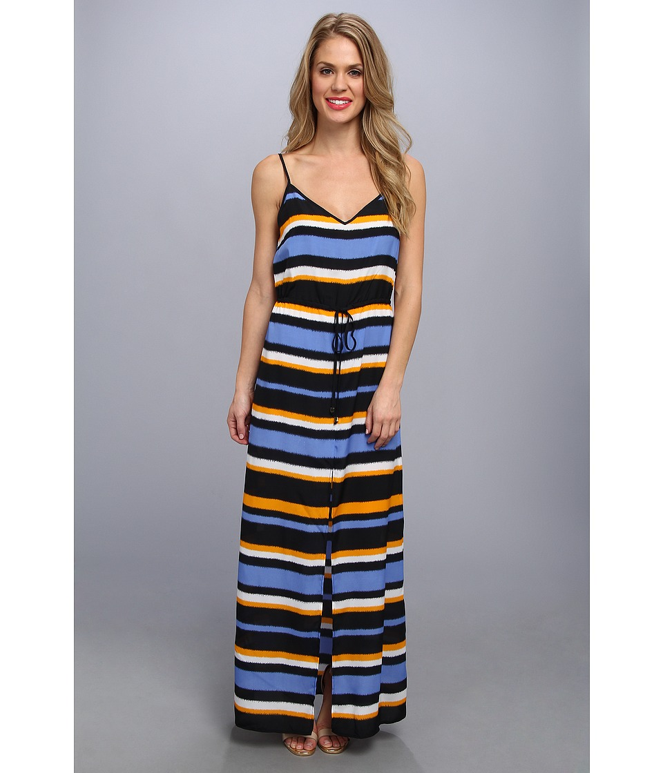 MICHAEL Michael Kors - Striped Front Slit Maxi Dress (Vin Yellow/Ox Blue) Women's Dress