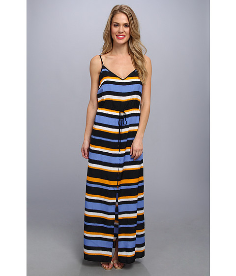 MICHAEL Michael Kors - Striped Front Slit Maxi Dress (Vin Yellow/Ox Blue) Women