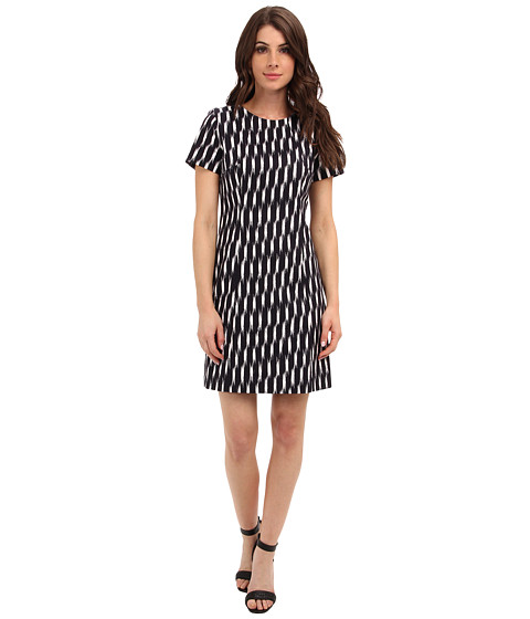 MICHAEL Michael Kors - Print Block Fitted Dress (Navy) Women's Dress