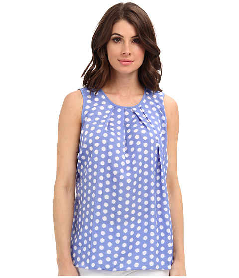 MICHAEL Michael Kors - Polka Dot Pleat Top (Oxford Blue) Women