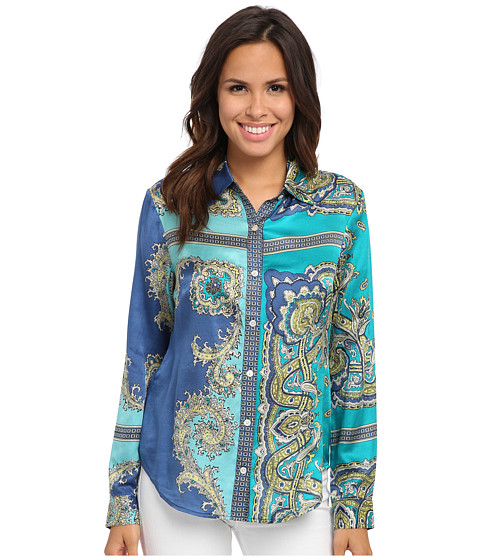 Tommy Bahama - Genoa Paisley Shirt (Palm Coast Teal) Women's Blouse