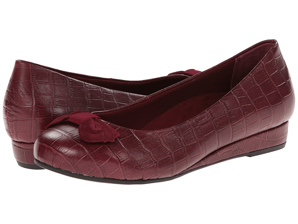 VIONIC - Lydia Low Wedge Pump (Merlot Croc) Women's Shoes