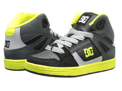 DC - Rebound SE (Little Kid/Big Kid) (Black/Yellow) Men's Skate Shoes