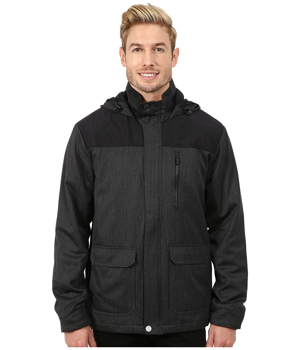 Icebreaker - Ranger Long Sleeve Zip Hood (Jet Heather/Black) Men's Long Sleeve Pullover