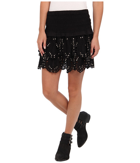 MICHAEL Michael Kors - Tiered Eyelet Mini Skirt (Black) Women