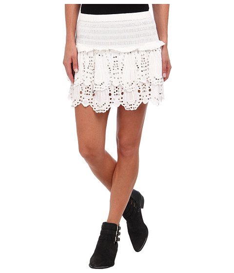 MICHAEL Michael Kors - Tiered Eyelet Mini Skirt (White) Women's Skirt