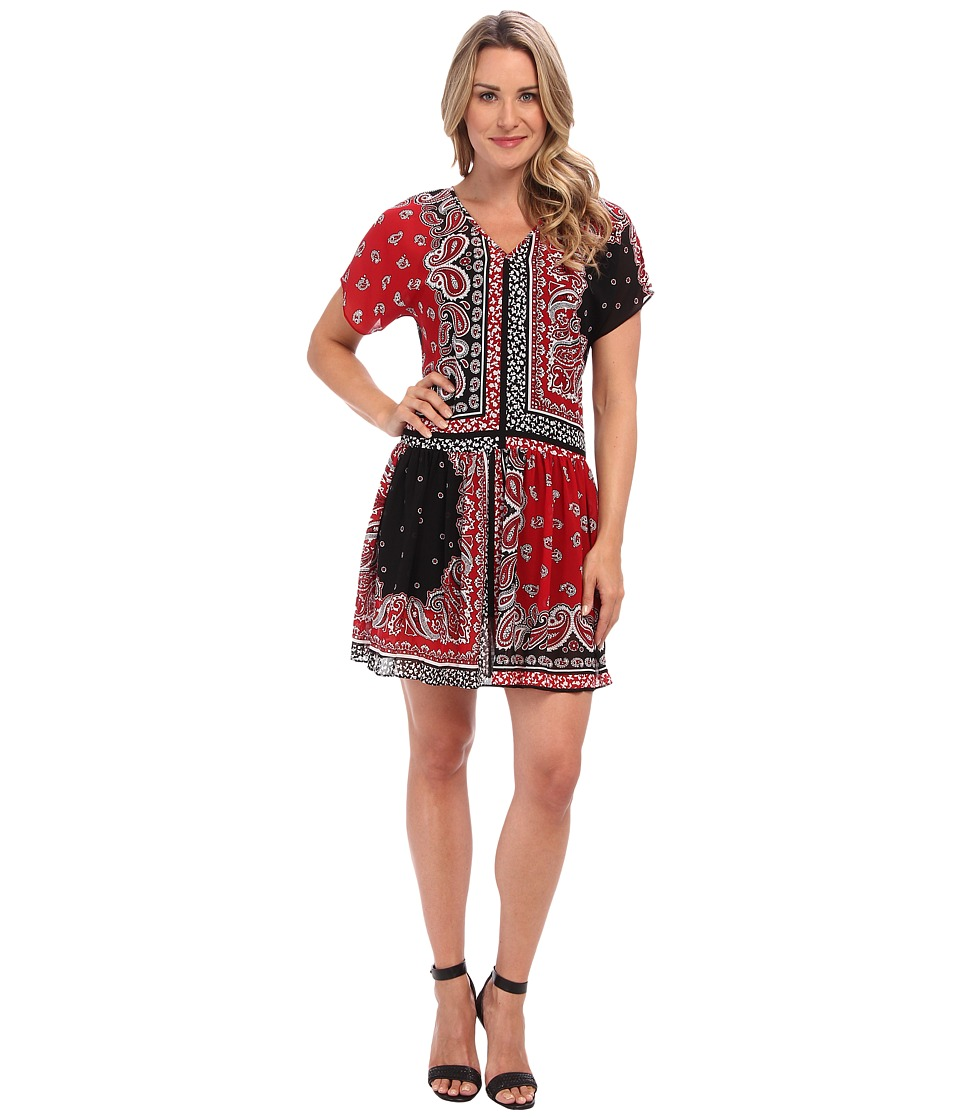 MICHAEL Michael Kors - Guilted Print Scarf Dress (Red Currant) Women