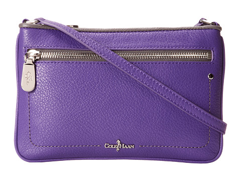 Cole Haan Parker Color Block Front Zip Mini Crossbody (Purple Reign/Dark Gull Grey Box) Cross Body Handbags