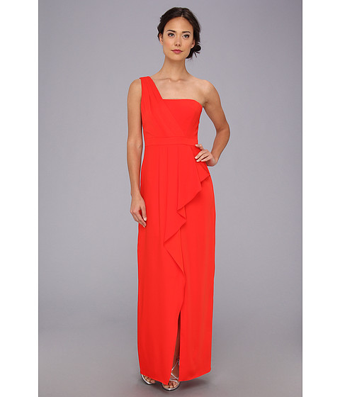 BCBGMAXAZRIA - Kristine One-Shoulder Peplum Gown (Bright Red) Women's Dress