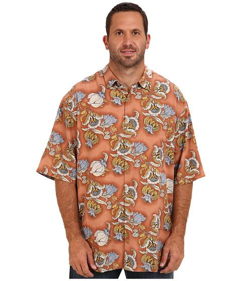 Tommy Bahama Big & Tall - Big Tall Hanauma Bay Floral S/S Camp Shirt (Bajana Orange) Men