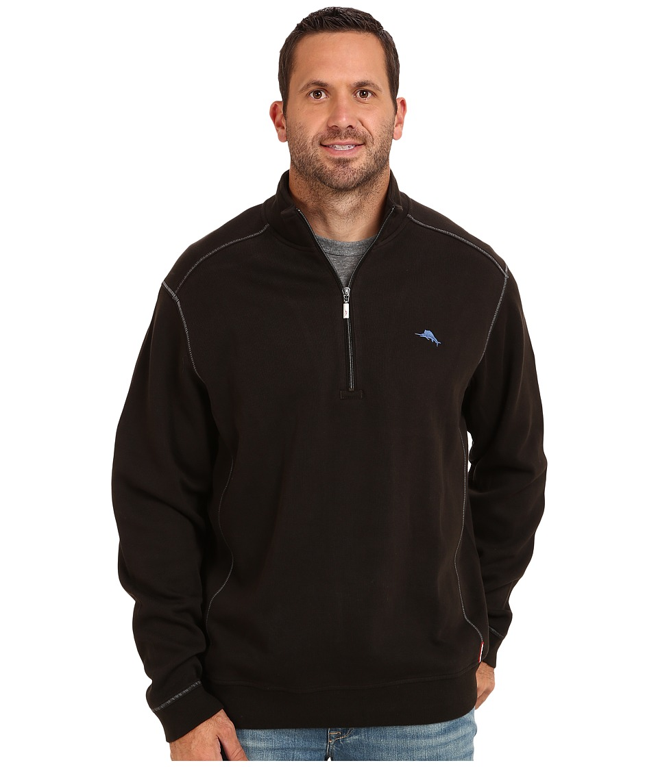 Tommy Bahama Big & Tall - Big Tall Antigua Half Zip Sweatshirt (Black) Men's Sweatshirt
