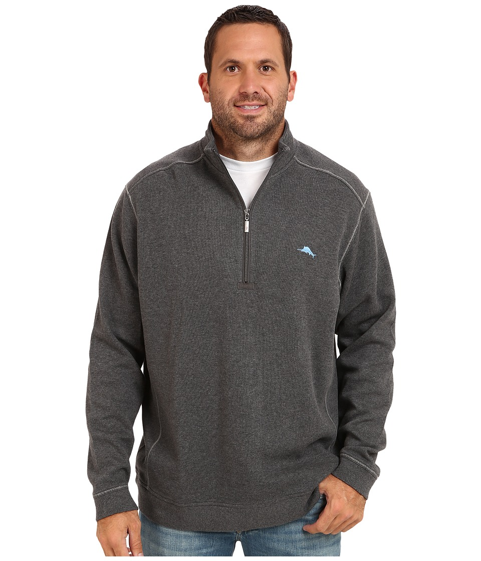 Tommy Bahama Big & Tall - Big Tall Antigua Half Zip Sweatshirt (Charcoal Heather) Men's Sweatshirt
