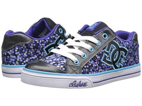 DC Kids - Chelsea Graffik (Little Kid/Big Kid) (Black/White/Purple) Girls Shoes