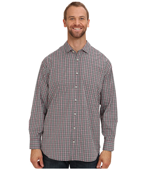 Tommy Bahama Big & Tall - Big Tall Stack The Check L/S Shirt (Black) Men's Long Sleeve Button Up