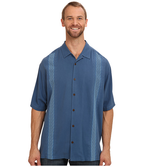 Tommy Bahama Big & Tall - Big Tall Just Scroll With It Camp Shirt (Blueberry) Men's Short Sleeve Button Up