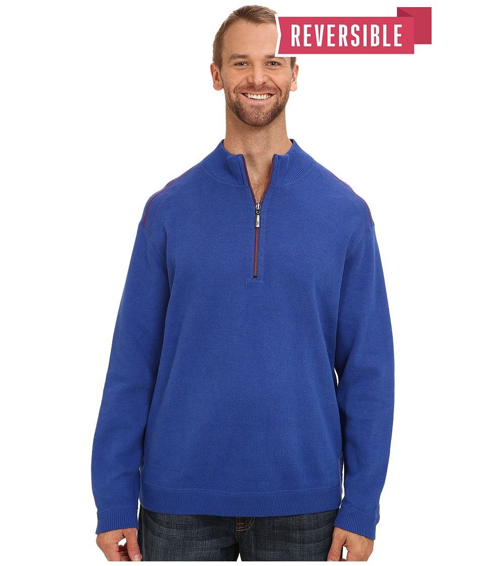 Tommy Bahama Big & Tall - Big Tall New Flip Side Pro Reversible Half Zip Sweatshirt (Dark Cobalt Heather) Men's Sweatshirt