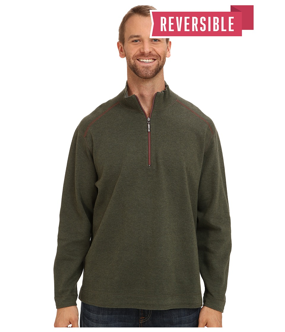 Tommy Bahama Big & Tall - Big Tall Flip Side Stripe Reversible Half Zip Sweatshirt (Cedar Heather) Men's Clothing