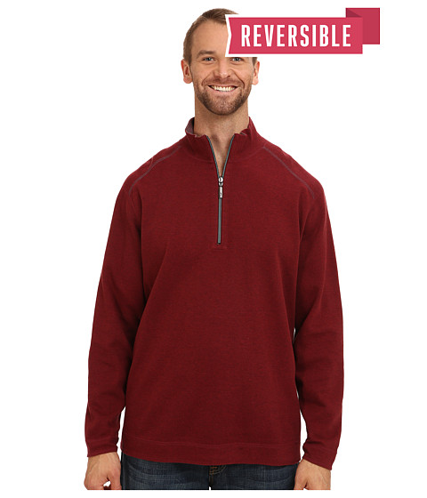Tommy Bahama Big & Tall - Big Tall Flip Side Stripe Reversible Half Zip Sweatshirt (Black Cherry Heather) Men's Clothing