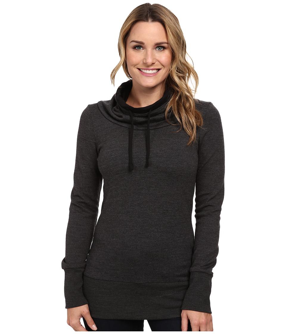 Icebreaker - Boreal Long Sleeve Cowl (Jet Heather/Black/Black) Women's Long Sleeve Pullover