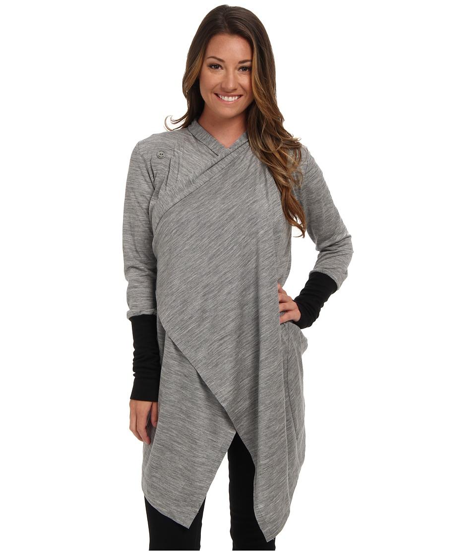 Icebreaker - Bliss Wrap (Metro Heather/Black) Women's Sweater