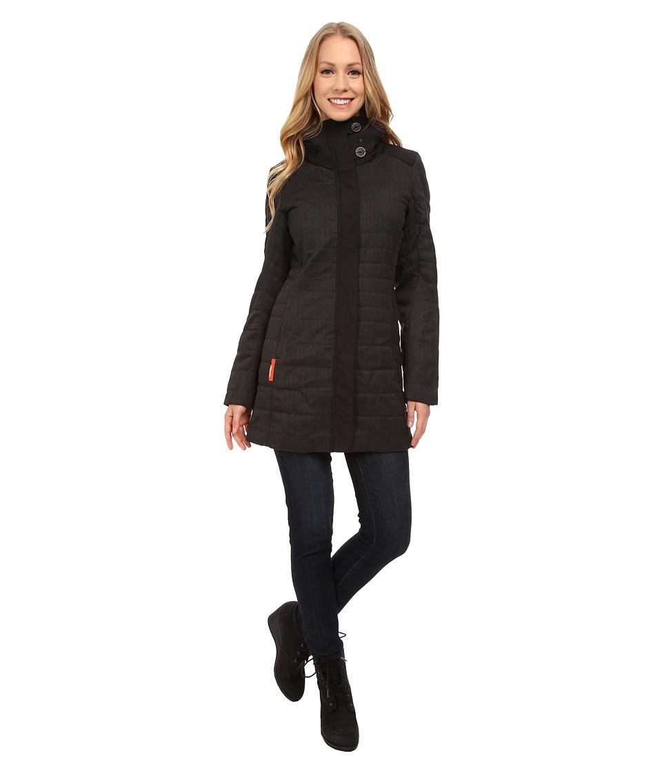 Icebreaker - Chelsea Long Sleeve Zip Hood (Jet Heather/Black) Women's Long Sleeve Pullover