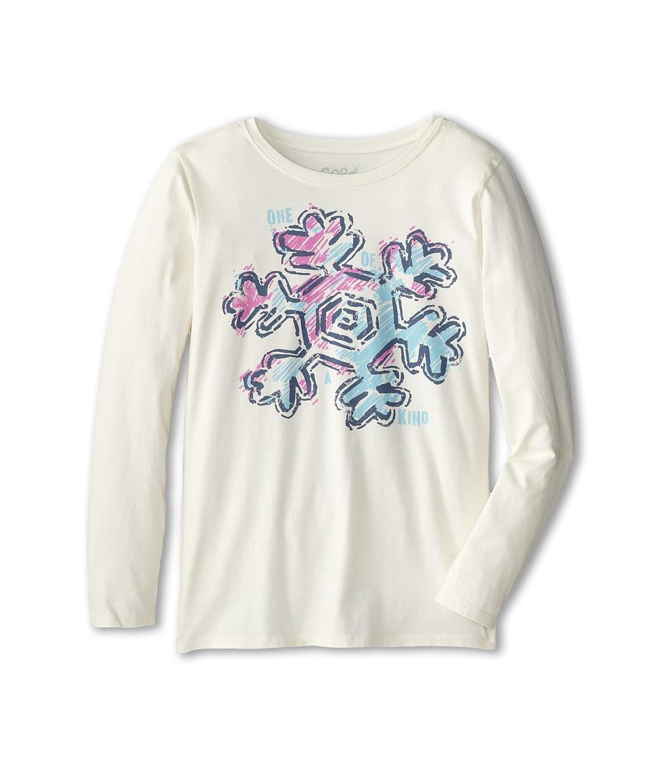 Life is good Kids - Fresh Snowflake Easy Long Sleeve (Little Kid/Big Kid) (Simply Ivory) Girl's Long Sleeve Pullover