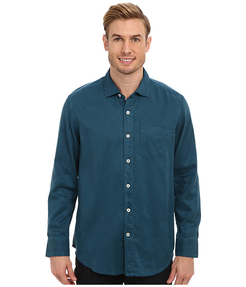 Tommy Bahama Denim - Island Modern Fit Still Twillin' L/S Shirt (Black Sea) Men's Long Sleeve Button Up
