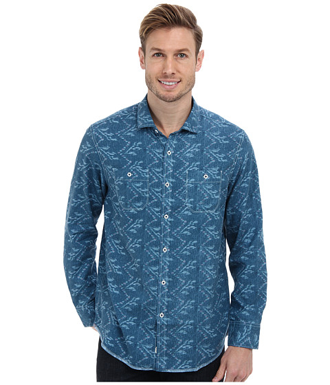Tommy Bahama Denim - Island Modern Fit Broadway Blue Print L/S Shirt (Navy) Men