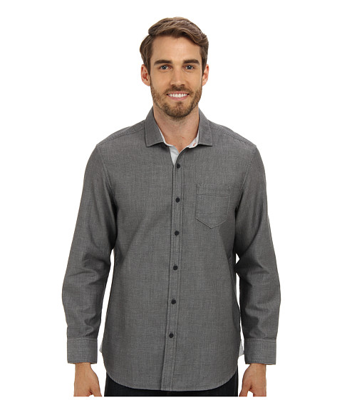 Tommy Bahama Denim - Island Modern Fit Connect The Dots Solid L/S Shirt (Carbon Grey) Men's Clothing
