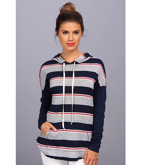 Allen Allen - Stripe Hoodie (Lapis) Women's Sweatshirt