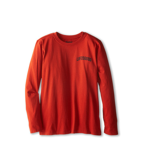 Life is good Kids - XLarge Snowboard Easy Long Sleeve (Little Kid/Big Kid) (Fiery Orange) Boy's Long Sleeve Pullover