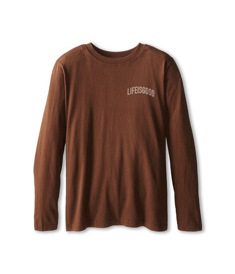 Life is good Kids - XLarge Skateboard Easy Long Sleeve (Little Kid/Big Kid) (Oak Brown) Boy's Long Sleeve Pullover