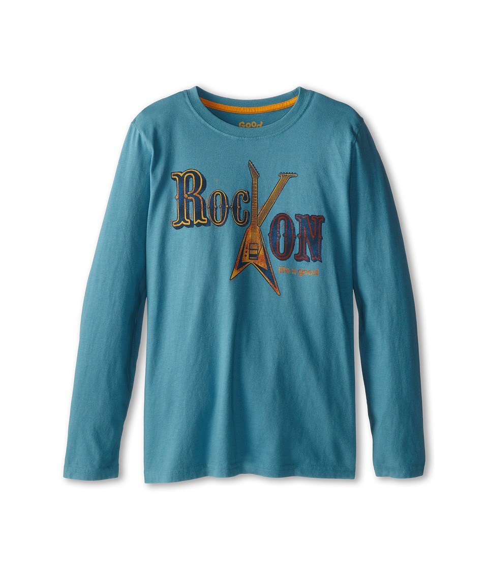 Life is good Kids - Rock On Feature Long Sleeve (Little Kid/Big Kid) (Turquoise Blue) Boy's Long Sleeve Pullover