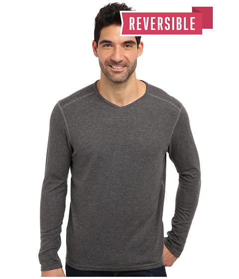 Tommy Bahama Denim - Island Modern Fit Sutton Stripe Reversible L/S V-Neck T-Shirt (Coal) Men