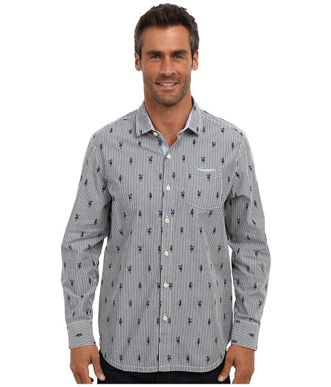 Tommy Bahama Denim - Island Modern Fit La Hula Print L/S Shirt (Navy) Men