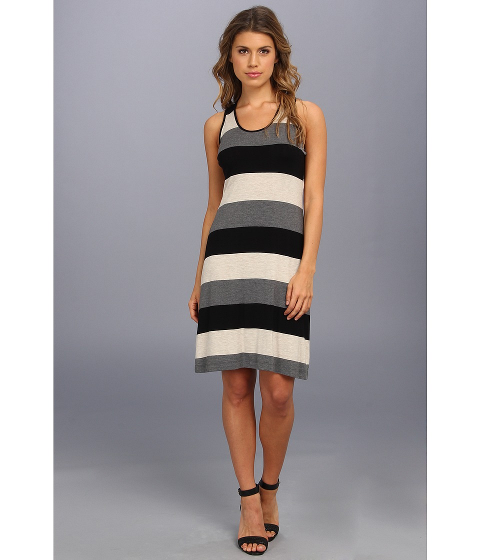 Calvin Klein - Striped Rayon T Back Dress Promo CD4NAHEQ (Heather Khaki Multi) Women