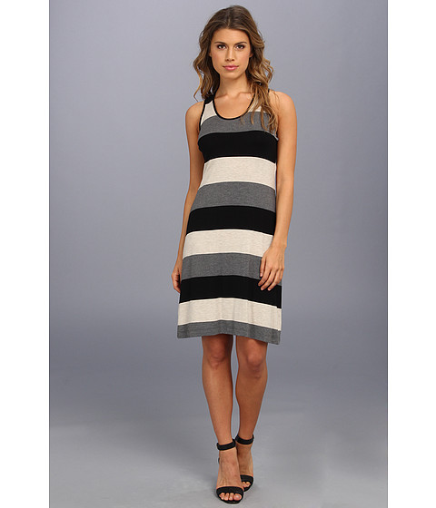 Calvin Klein - Striped Rayon T Back Dress Promo CD4NAHEQ (Heather Khaki Multi) Women's Dress