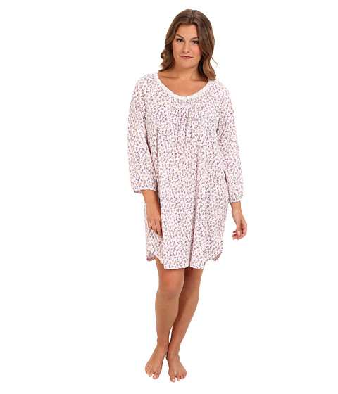 Carole Hochman - Plus Size Cozy Morning L/S Short Gown (Blushing Bouquets) Women's Pajama