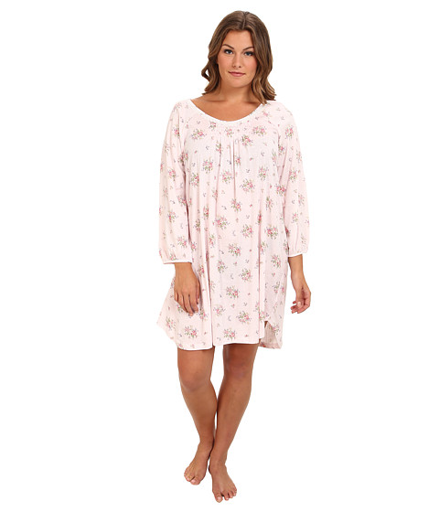 Carole Hochman - Plus Size Cozy Morning L/S Short Gown (Petite Fleur) Women