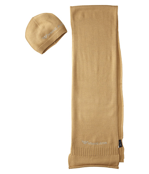 Armani Jeans - Scarf and Hat Set (Cammello) Cold Weather Hats