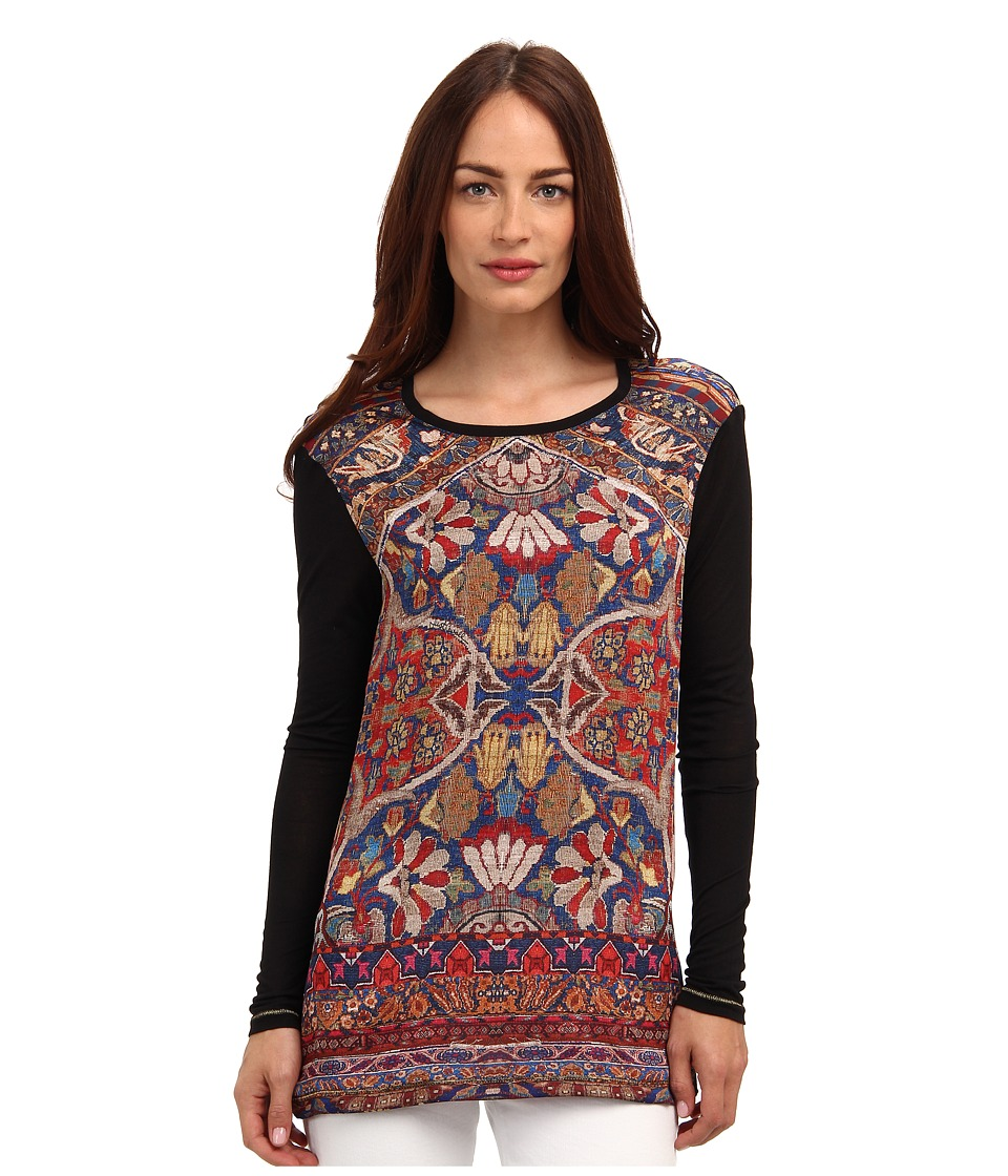 Just Cavalli - Contrast Printed Long Sleeve Top (Black) Women's Long Sleeve Pullover