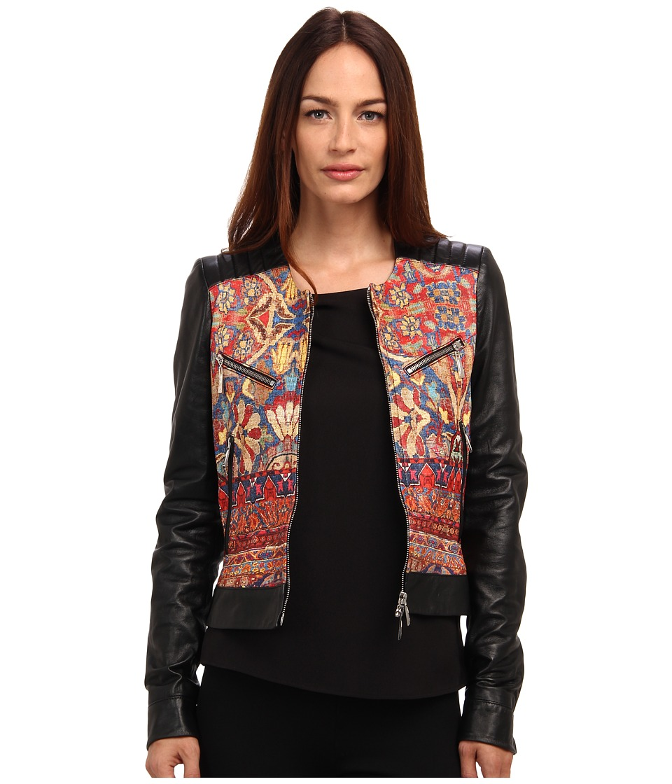 Just Cavalli - Faux Leather Jacket with Print Detail (Black) Women's Coat